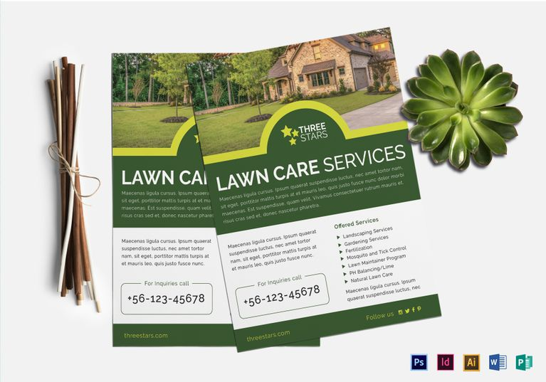 lawn care flyer editable